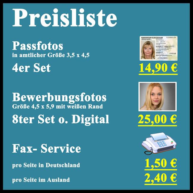Das bild zeigt die Preisliste vom Foto & Digital Zentrum Siegburg