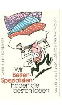 Das Bild zeigt eine alte Werbung von Betten Raymond