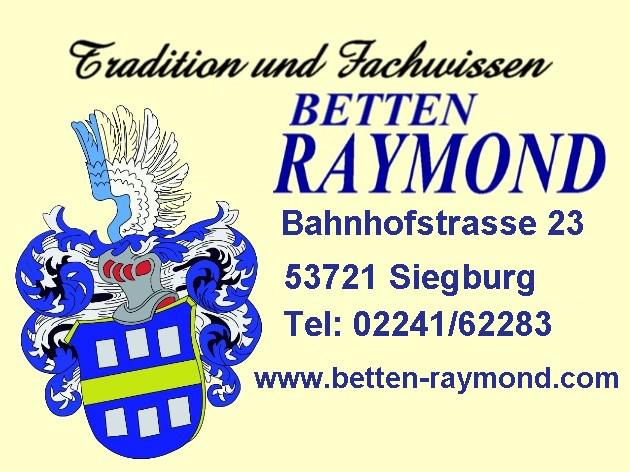 Das Bild zeigt das Logo und die Kontaktinformationen von Betten Raymond
