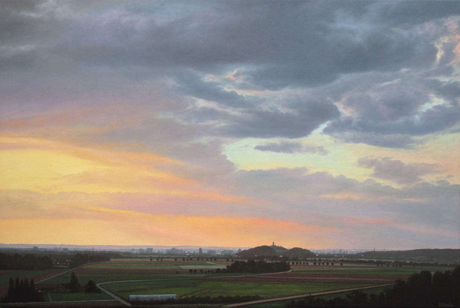 Auf dem Bild wird ein Gemälde des Siegburger Malers Jürgen Schmitz gezeigt