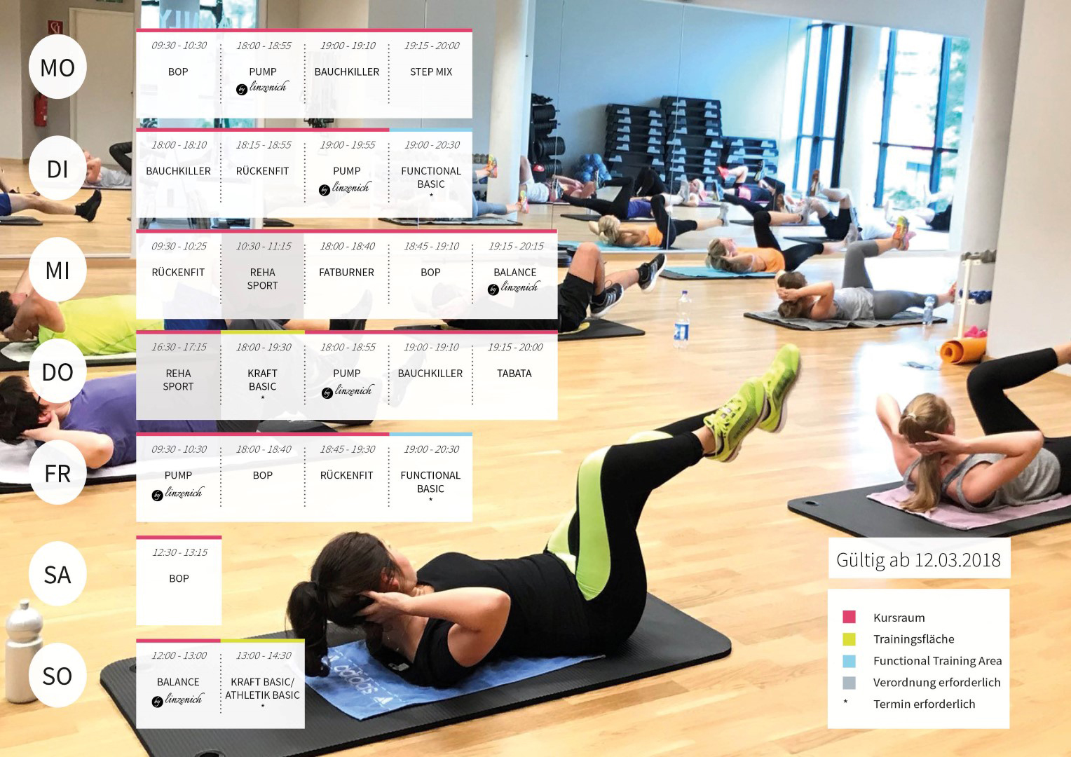 Auf dem Bild wird der Kursplan vom FAMILY Fitness Club in Siegburg gezeigt