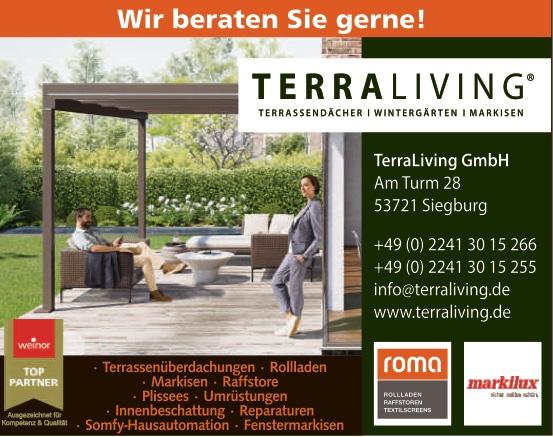 Das Bild zeigt ein Plakat mit Kontaktdaten der TerraLiving GmbH