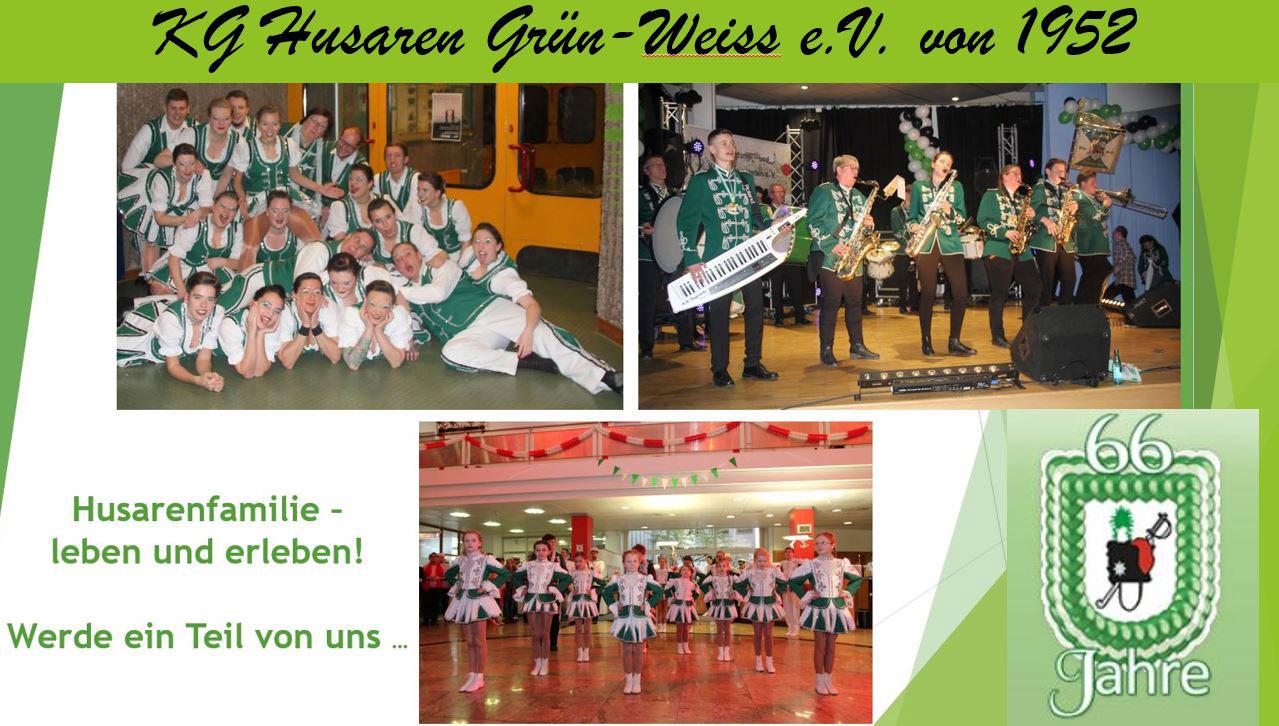 Das Bild zeigt einen Banner der KG Husaren Grün-Weiss e.V. von 1952