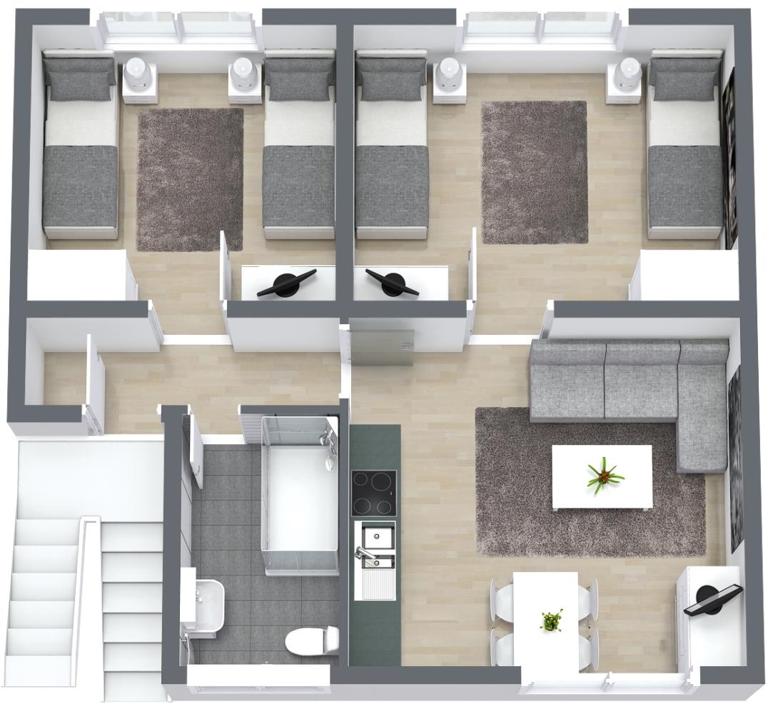 Das Schaubild zeigt den Grundriss der Ferienwohnung Fecke