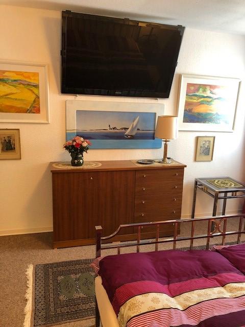 Auf dem Bild sieht man das Schlafzimmer der Ferienwohnung Merker