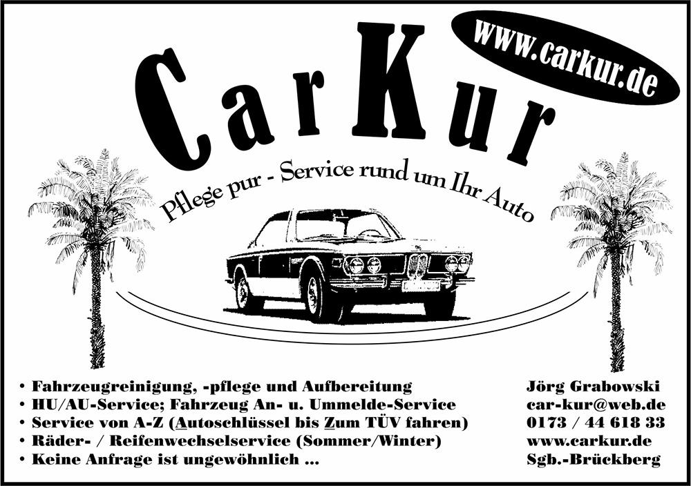 Das Bild zeigt das Logo von CarKur - Pflege pur! inklusive der Anschrift und eine Übersicht der Dienstleistungen