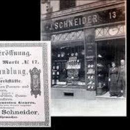 Hier sieht man ein historisches Bild vom Juweliergeschäft Schneider am Markt 13