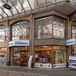 Das Bild zeigt das Reisebüro Hebbel von außen