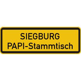 Das Bild zeigt ein Ortseingangsschild mit der Aufschrift PAPI-Stammtisch Siegburg