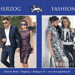 Auf den Bild sind mehrere Schaufensterpuppen zu sehen, welche mit Kleidung aus dem Sortiment vom Modehaus Herzogfashion ausgestattet sind